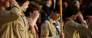 LUXEMBOURG ? Boy Scouts from Troop 69 Kaiserslautern, Germany, salute as the Star-Spangled Banner is played during a Veterans Da